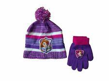 Disney Girl's One Size Purple Stripe Sofia The First Beanie & Gloves Set NEW