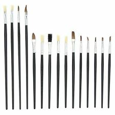 15 Artist Flat & Pointed Paint Brushes Set Small & Large Sizes Thin & Thick