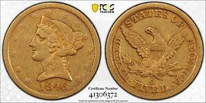 1846 O $5 Gold Liberty Half Eagle, PCGS VF 30. Rare Date!