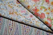 lot de 3 coupons de tissu patchwork liberty fleuris orangés  24x55cm