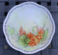 Vtg Hand Painted Reticulated Porcelain Plate Red Berries Artist Signed R. Brown