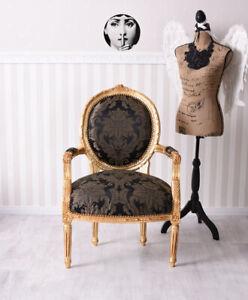 Antique Fauteuil Baroque Accoudoirs de Chaise Or Noir Chaise