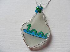 Nessie - Cute Loch Ness monster necklace - hand painted sea glass swarovski bead