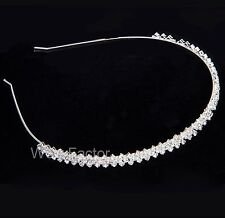 Diamante Rhinestone Crystal Silver Plated Wedding Prom Alice Hair Band Headband