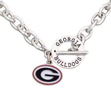 Georgia Bulldogs Team Name Toggle Silver Necklace Red Black Charm Jewelry UGA