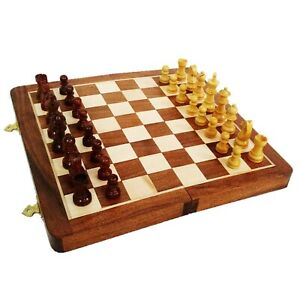 """14"""" Large Rosewood & Maple Wooden Inlaid Magnetic Chess Set Board for Travel"""