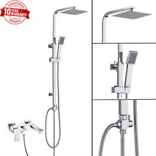Modern Wall Mounted Bath Shower Mixer Tap With Square 3 Way Rigid Riser Shower