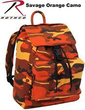Orange Camouflage Canvas Day Pack Backpack Knapsack Rucksack School Bag 2382
