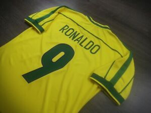 [Retro] - Brazil Home Fifa Worldcup 1998 with 9 RONALDO Size M