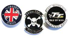 Isle Of Man TT, British Biker & Live Fast Motorcycle Metal Biker Badge Set NEW