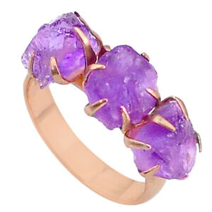 September Sale 8.49cts Amethyst Raw 14k Rose Gold Handmade Ring Size 7 T34906