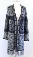 Chicos Black Gray Marled Embroidered Fringe Duster Cardigan Sweater Size 1 Boho