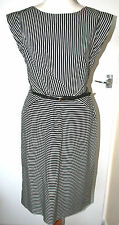 MONSOON UK12 EU40 BLACK/WHITE STRIPED CAP SLEEVED BELTED COTTON AND LINED DRESS
