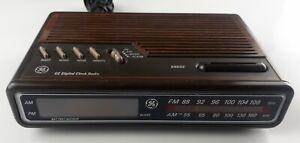 Vintage GE Digital Alarm Clock Radio AM/FM Model 7-4612A Brown Tested Working
