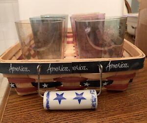 Straw Basket Straw Patriotic America Red White Blue Flat Handles  Stars