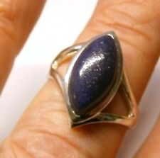 Handmade 925 Sterling Silver Y Band Ring with Marquise Lapis Lazuli Stone Size R