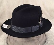 "NWT Bailey Of Hollywood ""MADISON"" Men's Fur Felt Fedora Black 6 7/8"" 55cm"