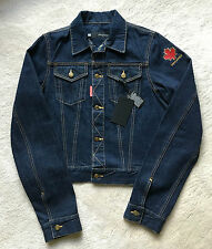 NWT 100% authentic DSQUARED2 embroidered logo JEAN JACKET sz 48 EUR | 38 US | M