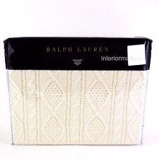 RALPH LAUREN JUDSON Amagansett THROW BLANKET Cream IRISH CABLE KNIT NEW