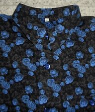 NEUWERTIG! Florales SIGNUM Hemd L (eher XL) Schwarz/Blau geblümt (Rosen) Langarm