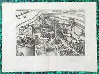 XVI ème - Dépt 59 - Fortifications de Valenciennes par Hogenberg 37x27 cm - 1583