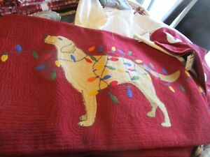 Pottery Barn Christmas Dog with Lights Crewel Lumbar Pillow Cover 16 X 26 New