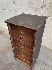 More details for antique 1800's wooden engineers 8 drawer tool chest miniature smokers cabinet