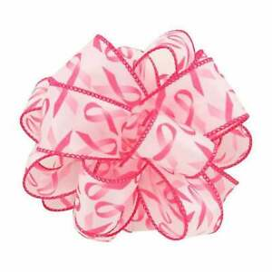 """1-1/2"""" Wired Breast Cancer Awareness Ribbon - White & Pink"""