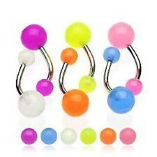 NEW LOT OF 6 GLOW IN THE DARK  BELLY BARS Steel Navel Ring Piercing Wholesale