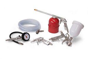 5 Piece Air Compressor Tool Kit Burisch - Spray Gun, 5m hose, Tyre Inflator
