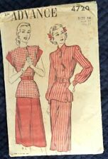 Vintage 1940s Advance Pattern 4720 34 Bust Peplum 2-Pc Dress Diagonal Button
