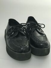 TUK Men's Black Leather Mondo Viva Platform Creepers Size 8