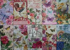 *POOCH SWEETHEART 10 Ten Mixed Guest Towel Buffet Paper Napkins Decoupage~Floral
