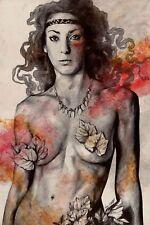 Disegno originale matita e acrilico, Ritratto donna guerriera nuda, Arte moderna