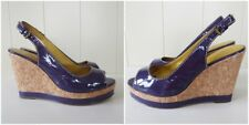 BODEN Purple Patent Leather Peeptoe Slingback Cork Wedge Shoes UK 5 Worn Once