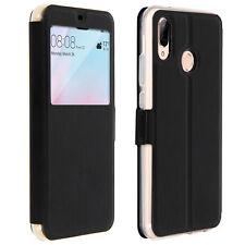 Colorfone Etui Housse Huawei P20 Lite Flip Cover incassable avec fenêtre Noir