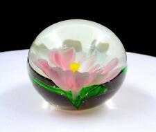 "STUDIO ART GLASS WHITE & PINK FLOWER ROUND 2 3/8"" PAPERWEIGHT"