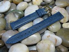 16 mm Hirsch Blue Camelgrain No Allergy Leather Watch Band strap anti-allergen
