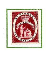 More details for st vincent 5/- lake sg53 1888  mint