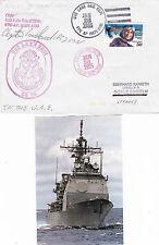 USS Lake Erie CG 70 Cruiser un capitaine signé navires en CACHE COVER & SM MAG Pic