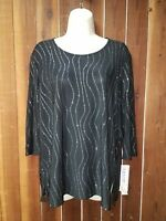 Women's Size Large New With Tags Black Embellished Top Blouse by Amanda