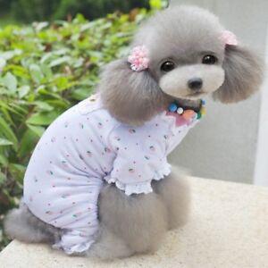 Pet Clothes Small Toy Dog Pajama Jumpsuit Strawberry Sleepwear Soft Cotton