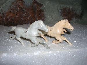 BONNIE BILT 1950'S  WAGON HORSES 54MM TOY SOLDIER PLAYSET GREY WHT