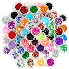 80 Colors Nail Art Glitter Powder Dust For UV GEL Acrylic Powder Decoration Tips