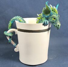 Green Dragon Peaking from Your Morning Coffee  Mythical Fantasy Figurine