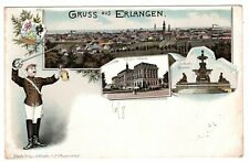 Litho Ak 1899 Gruss aus Erlangen, Collegien Gebäude, Luitpold Brunnen, Wappen