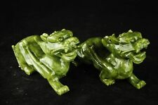 China jade carving a rare  kirin fu feng shui to ward off bad luck dog statues