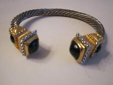 2 CABLE STYLE BRACELET CUFFS - SILVER PLATED - SEE PICS - TUB BN-12