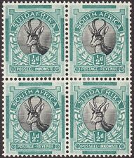 South Africa 1930 KGV ½d Springbok Block of 4 with Cobweb Variety Mint SG42-42c