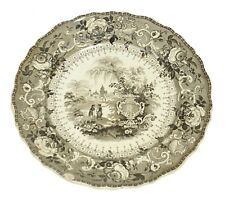 Ancona Italy Antique Brown Transferware E+GI Makers Mark Plate